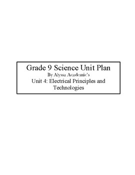 Grade 9 Science Electrical Principles and Technologies Unit Plan