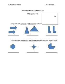 Grade 9 Transformational Geometry Test