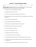 Grade 9  foods/cooking 60 minute class resources