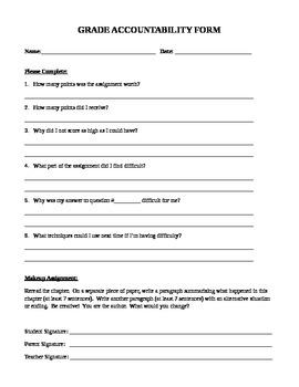 Grade Accountability Form