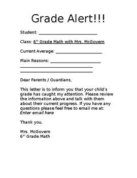 Grade Alert Form Editable