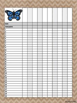 Grade Book (Butterfly, Blue, Black & Burlap Theme)