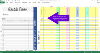 Grade Book (Color-Coded) | Excel Sheet | Automatic Tally with Grades and %