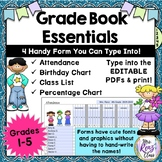 Grade Book Forms: Attendance, Class List, Birthday & Grade Chart - Editable PDFs