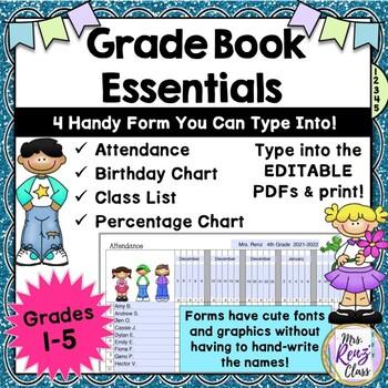 Grade Book Forms Attendance Class List Birthday Grade Chart