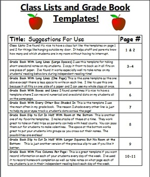 Grade Book Templates And Class Lists