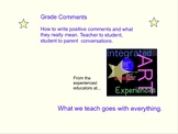 Grade Comments Examples