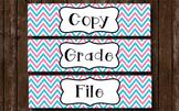 Grade Copy File - Aqua and Pink Chevron