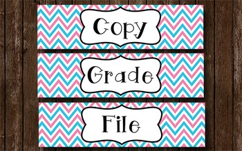 Grade Copy File - Aqua and Pink Chevron