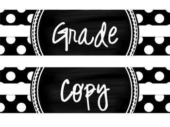 Grade Copy File Polka Dot Drawer Labels