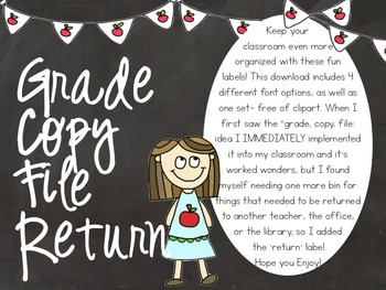 Grade Copy File Return Labels- Chalkboard