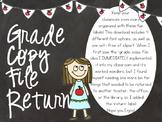 Grade Copy File Return Labels- Chalkboard