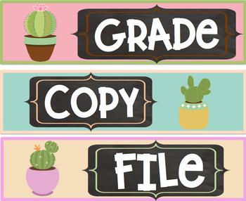Grade Copy File Sterlite Drawer Labels Cactus Succulent Theme FREEBIE