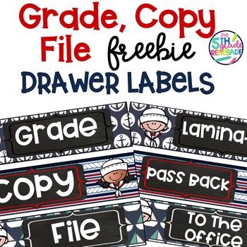 Grade Copy File  Sterlite Drawer Labels Nautical Theme