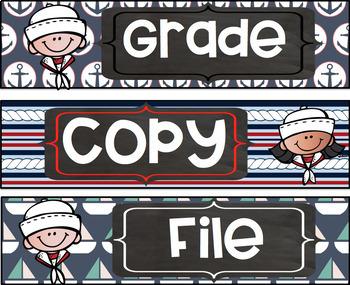 Grade Copy File  Sterlite Drawer Labels Nautical Theme FREEBIE