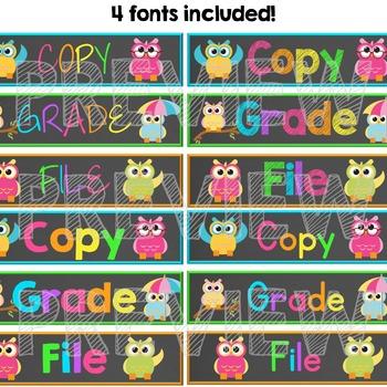 Grade, Copy, File Teacher Drawer Labels - Neon Brights Chalkboard Owls