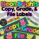 Grade, Copy, File Teacher Drawer Labels - Neon Brights Cha
