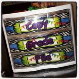 Grade, Copy, File - Zebra Plastic Drawer Labels - EDITABLE