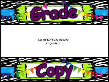 Grade, Copy, File - Zebra Plastic Drawer Labels - EDITABLE