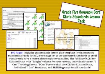Grade Five Common Core Lesson Pack