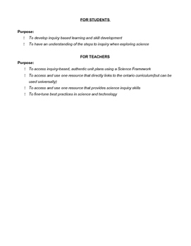 Grade Five Science Framework - Inquiry Based Learning