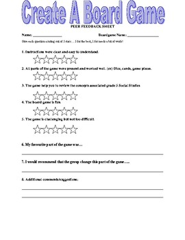 Grade Five Social Studies Make a Review Board Game