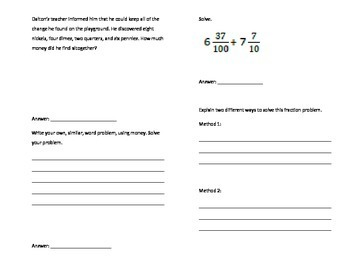 Grade Four Math Module 6 Written Expression Foldable