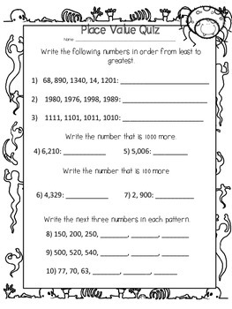 Grade Four Place Value Quiz (Halloween Theme)