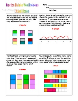 Grade Fraction - Fraction Division Word Problems(w/ Answer Key) - Visual Models