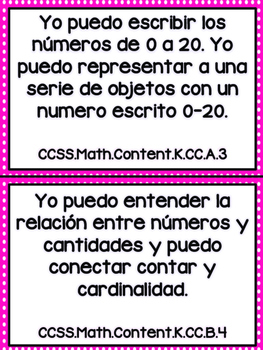 Grade K Math Common Core Standards in Spanish