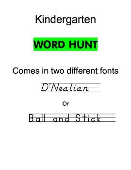 Grade K Word Hunt