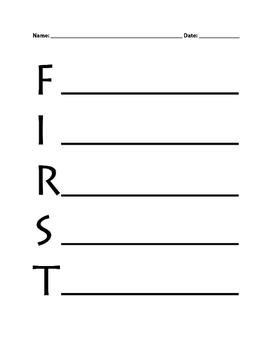 Grade Level Acrostic - Kindergarten, First, Second, Third, Fourth