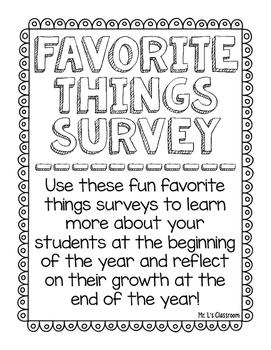 Grade Level Favorites Surveys - Beginning or End of Year Freebie