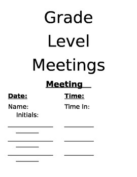 Grade Level Meeting Data