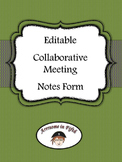 Back to School Editable Grade Level Meeting Notes
