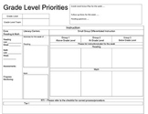 Grade Level Meetings - Forms / Priority Checklist