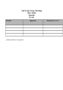 Grade Level Sign in Sheet
