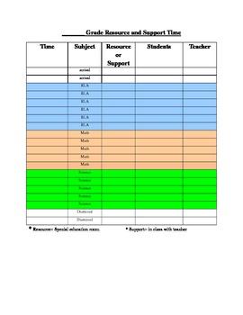 Grade Level Special Education Schedule