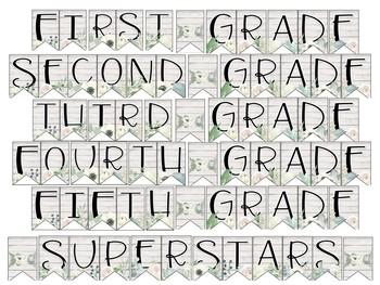 Grade Level 'Superstars' Bunting- Chic Shiplap & Flower Themed