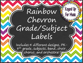 Grade Level and Music Subject Labels - Rainbow Chevron Chalkboard Design