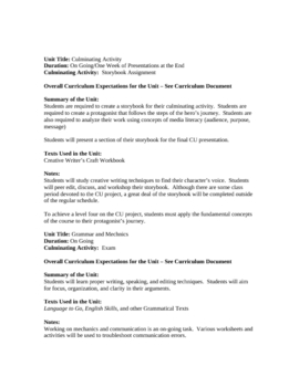 Grade Nine English Overview of Units