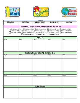Grade One CCSS Aligned Lesson Plan Template