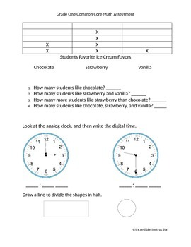 Grade One Common Core Math Assessment