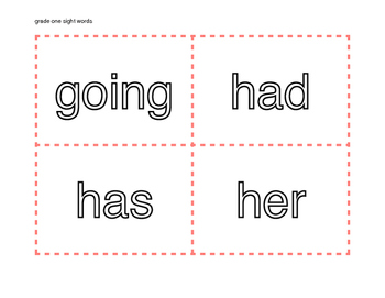 Grade One Dolch Word List Flash Cards