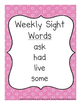 Grade One Dolch Words Weekly Sight Word Activities American Spellings
