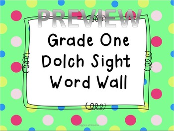 Grade One Dolch Word Wall