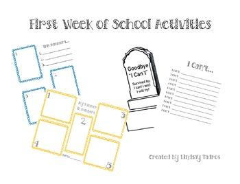 Grade One - First Week Of School Activities