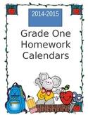Homework Calendars for Grade One