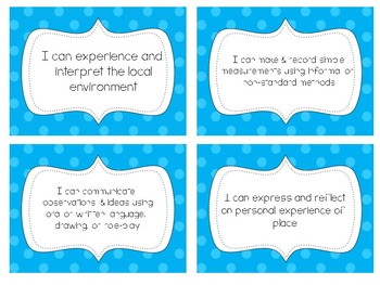 "Grade One ""I can"" statements"