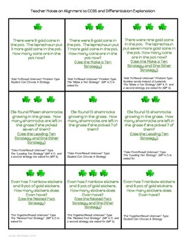 Grade One March/St.Patrick's Day Math Choice Board - 1.OA.1 & 6
